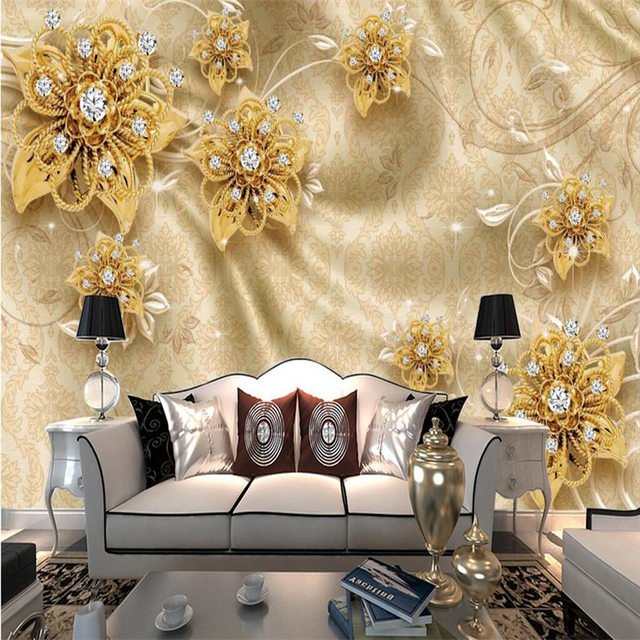 beibehang Custom Photo Wallpaper Mural Wall Sticker 3D Relief Gold