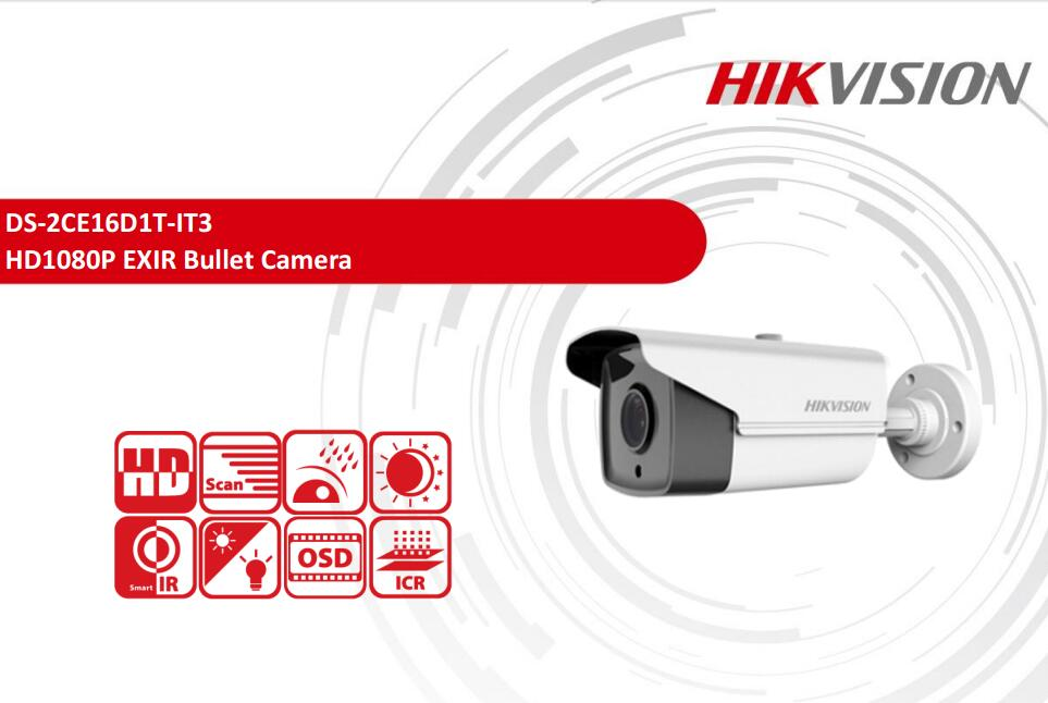 Free Shipping HIKVISION DS-2CE16D1T-IT3 2MP HD1080P EXIR Bullet Camera Security CCTV Camera hikvision original english version ds 2ce16d1t irp hd1080p ir bullet camera 2mp ip66 weatherproof up the coax cctv camera