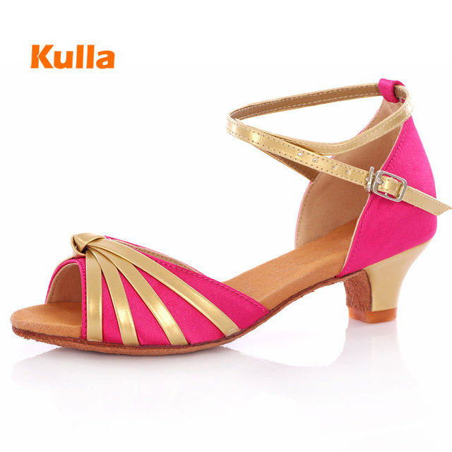 f9e3bf03339 Kids Latin Dancing Shoes Women Low Heel Dance Shoes Rose Red Children  Ballroom Dance Shoes Indoor Sandal Latin Ballroom Shoes
