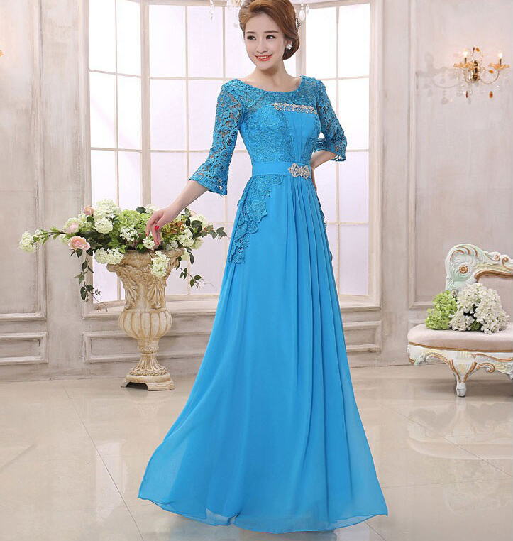0f2b726a9fb Ladys Long Gowns Cheap 2018 new hot A-Line Mother of the Bride Lace Dresses  3 4 Sleeve Formal Dresses Elegant Evening Gown Brand