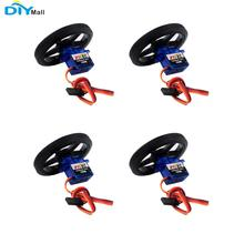 4set Feetech FS90R 360 Degree Continuous Rotation Micro RC Servo 6V 1.5KG with Wheel DIYmall