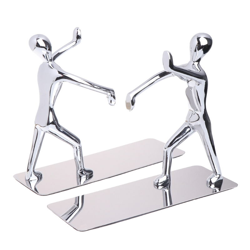 1 Pair Heavy Duty Humanoid Figure Bookend Non-Skid Home Art Decoration Bookshelf heavy duty acrylite adhesive pair