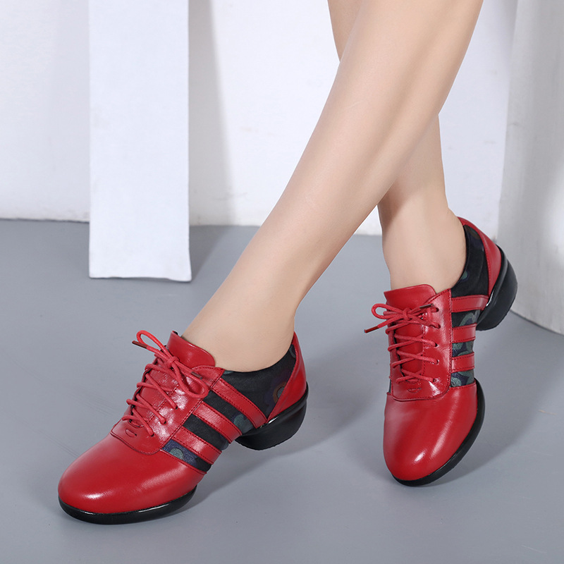 ФОТО folk style square women dance shoes leather casual women autumn shoes lace up breathable