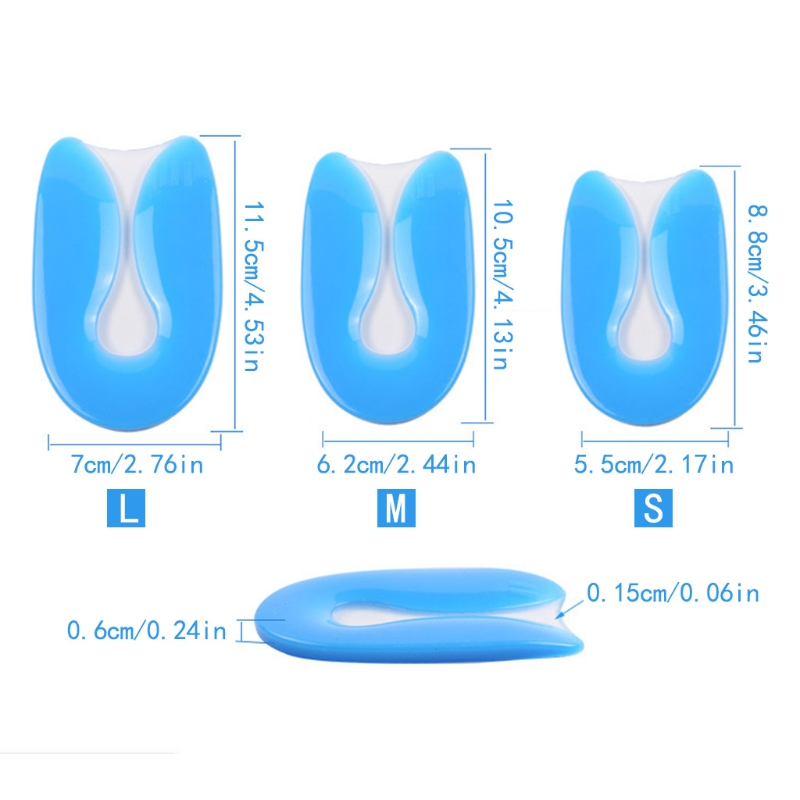 1 Pair Of Silicone Gel U-Shaped Jumping Pads Stimulate Soles Pillows Insert Pain Relief Soft Protector Feet Care