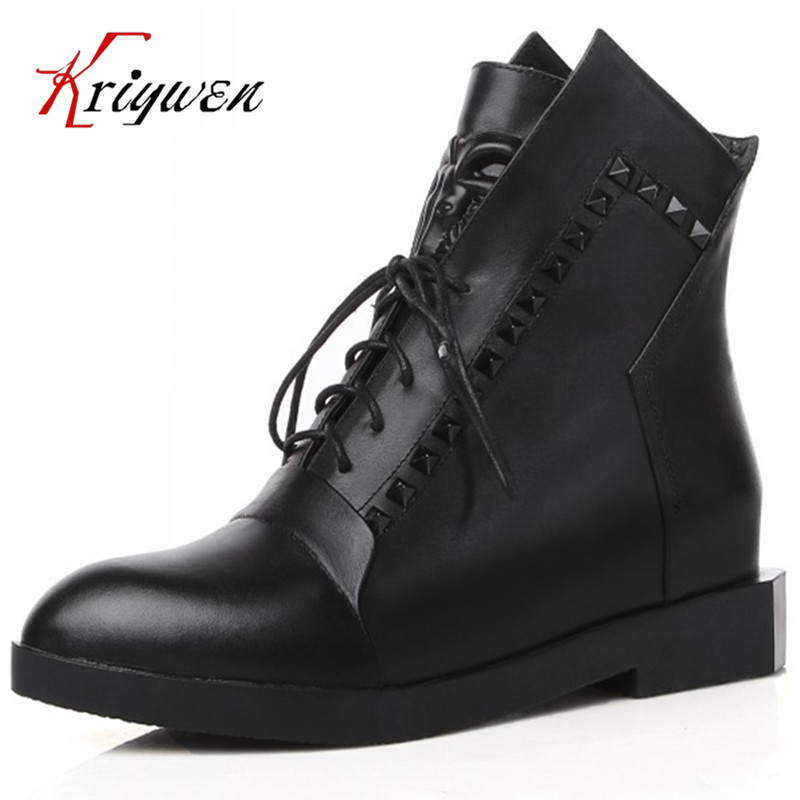 100%Cow Free shipping 2015 Autumn short boots for women thick bottom shoes fashion round toe rivets punk genuine leather boots
