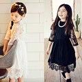Familia Ropa A Juego Madre Hija Vestidos para niñas Ropa de Manga Larga de Encaje Negro vestido infantil vestido de navidad
