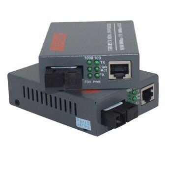 1 زوج HTB-GS-03 A / B جيجابت الألياف الضوئية محول الوسائط 1000Mbps وضع واحد واحد SC الألياف ميناء 20KM