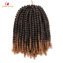 hot deal buy golden beauty 8inch crochet braids crochet hair extensions spring twist synthetic braiding hair 30 strands/pack