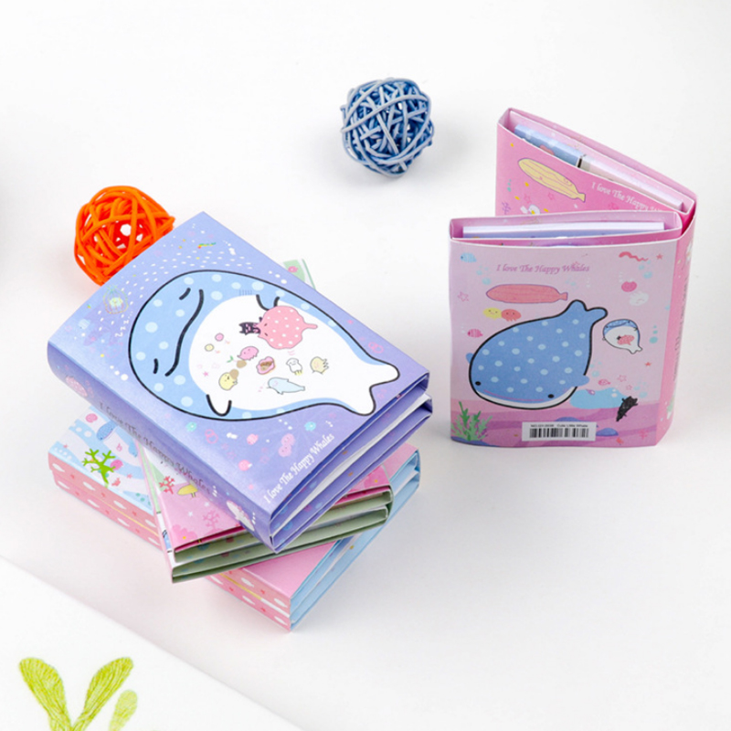 1 Pcs Cute Happy Whale 6 Folding Memo Pad N Times Sticky Notes Memo Notepad Bookmark Gift Stationery Supplies gift n home