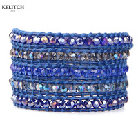 KELITCH Brand Natural Crystal Beaded Bracelet 5 Wrap Multilayers Handmade Adjustable Clasp Women Bracelets with Box Pack Gifts