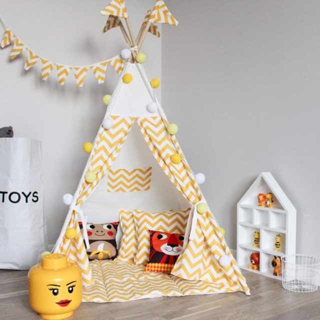 Fessyc@yellow stripe Childrenu0027s Teepee Play tent kids teepee baby shower tipi tent & Online Shop Fessyc@yellow stripe Childrenu0027s Teepee Play tent kids ...