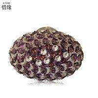 Xiyuan бренд цветок Для женщин Золотой Кристалл Вечер кошелек из металла цвета шампанского клатч Свадебный Коктейль Свадебные фиолетовый сум