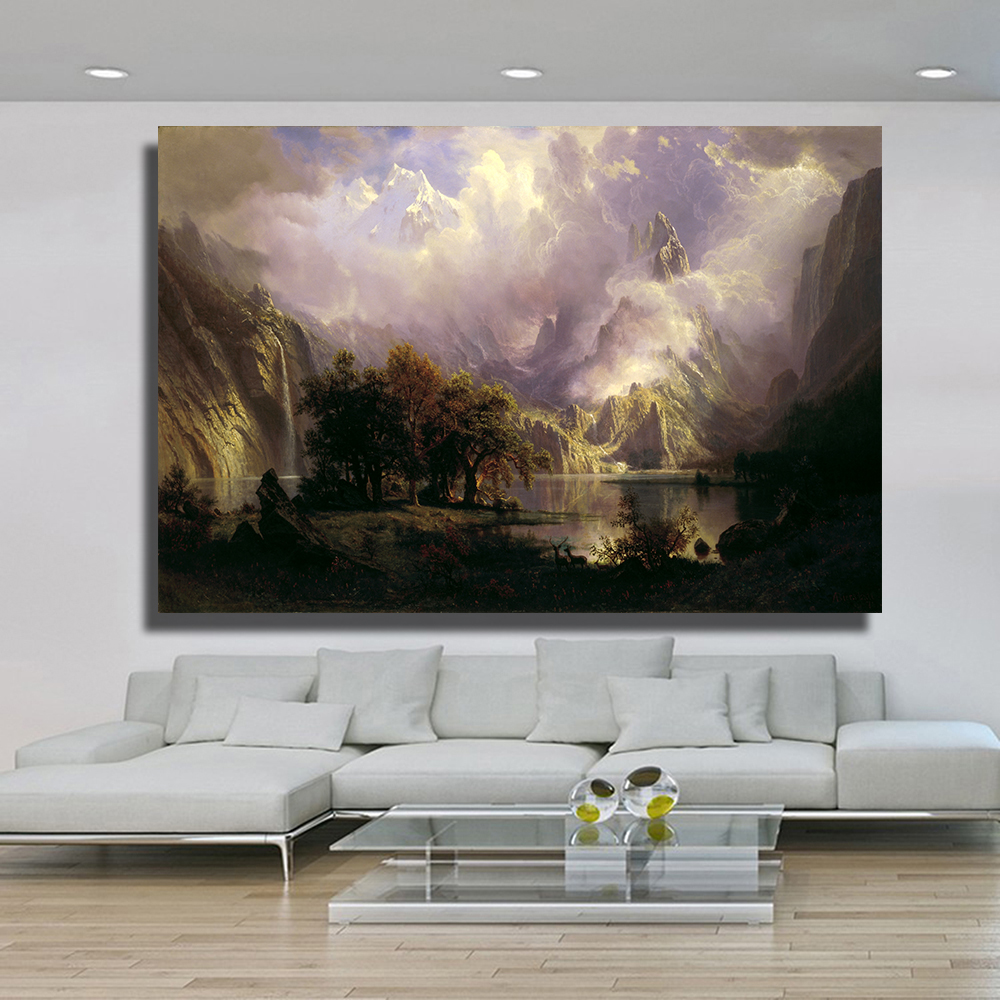 Living room oil paintings - Qk Art Frameless Rocky Mountain Landscape Oil Painting Canvas Wall Pictures For Living Room Poster Home