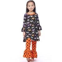 Halloween ubrania Spadek garnitur czarny/oragne Dziewczyna Ubranie dziewczyny boutique odzież wzburzyć spodnie długie rękawy halloween stroje dziewcząt