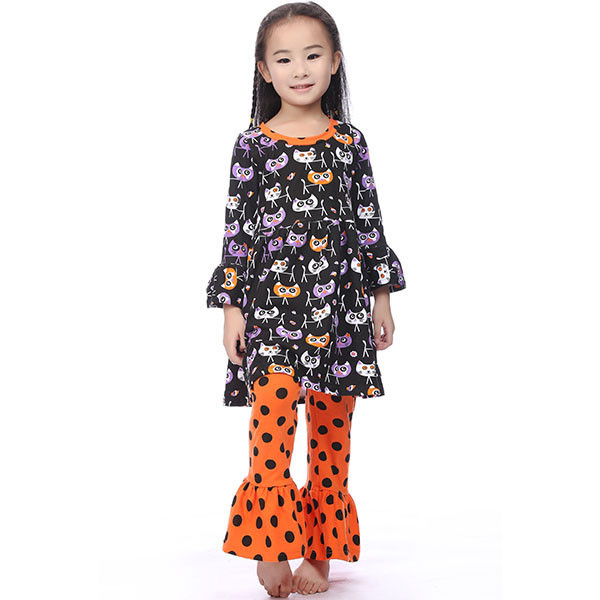 все цены на Halloween clothes Fall suit black/oragne Girls Outfit girl boutique clothing ruffle pants long sleeves halloween outfits girls