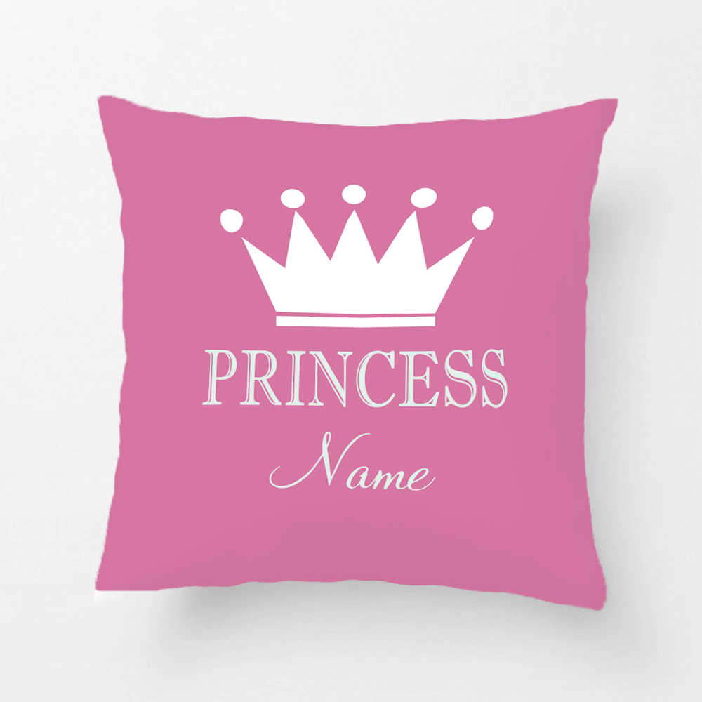 customized child name printed throw pillowcase crown princess decorative cushion cover gift by lvsure for car sofa seat