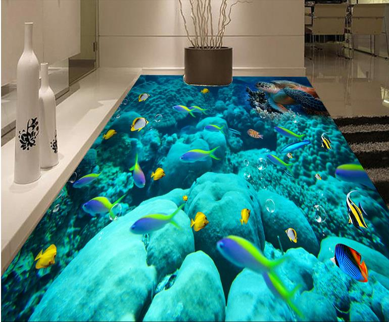 Modern 3d Floor Photo Wallpaper Murals The Underwater World 3d Floor