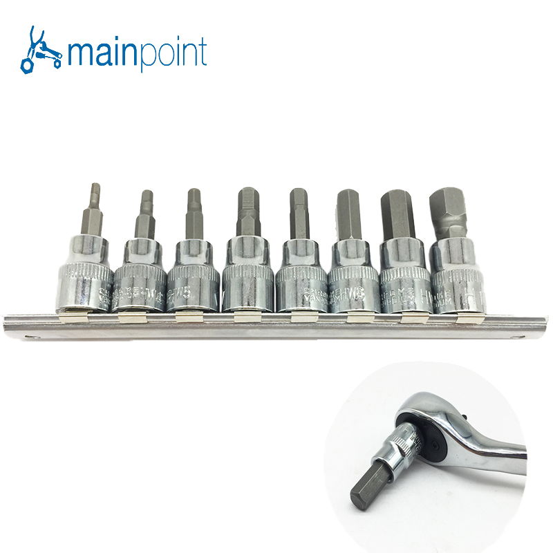 Mainpoint 8Pc Hex Bit Socket Allen Key Ratchet Drive Adapter Set 3/8
