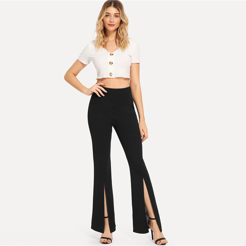 SHEIN Black Split Solid Leggings Workwear Elegant Plain Mid Waist Casual Leggings Women Fitness Spring Autumn Pants 8
