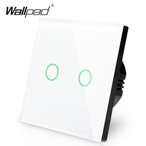 Image 2 - 新到着 Wallpad EU 英国 110 V 220 V 2 ギャング 2 ウェイ 3 方法位置白ガラスパネルタッチボタン壁ライトスイッチ電源