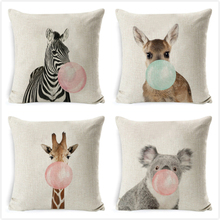 Bubble Chewing Gum Cushion Cover Giraffe Zebra Animal Case Art Painting Decora Pillow Nordic Style Kids Pillowcase