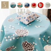 Watercolor Green Fruit Cherry Leaves Guava Pine Flower On Blue Botanical Table Cloth Home Living Cotton