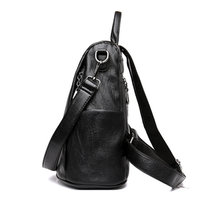 Image 4 - Fashion 2018 Women Backpack Youth Leather Vintage Backpacks for Teenage Girls Female School Bag Bagpack mochila sac a dos