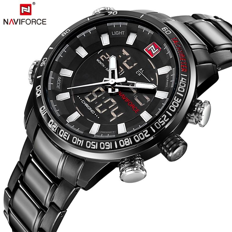 Naviforce Original Luxus Marke Edelstahl Quarzuhr Herren Uhr Uhr Led Digital Military Armbanduhr Relogio Masculino Mit Einem LangjäHrigen Ruf Dual-display-uhren Uhren