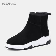 winter new ankle boots female genuine cow suede fur sheep wool blend zipper round toe platform flat warm young snow shoes woman winter autumn fur metal chain high platform casual shoes outdoor genuine leather suede woman short ankle boots round toe shoes