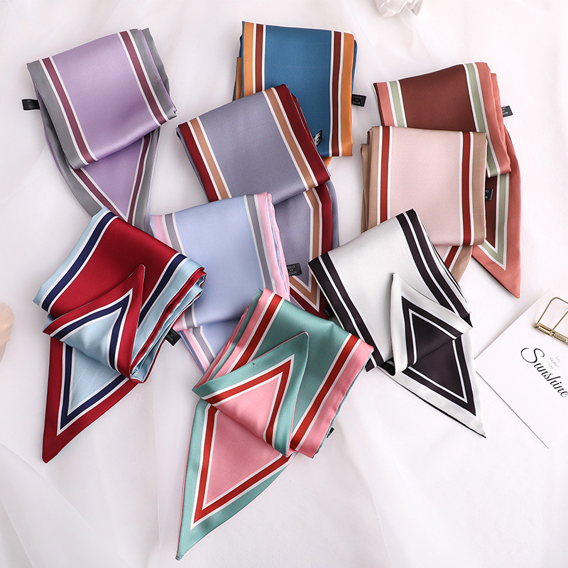 Silk Scarf Scarves-Wrap Ribbons Handle-Bag Print Small Striped New-Design Solid Women