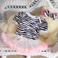 2PCs per Set Infant Lace Romper Pink Ruffle Trim Zebra Baby Girls Tutu Dress Headband for 0-12months Free Shipping