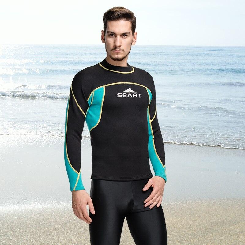 b3cef647d9bab SBART 2mm traje de camisa de T camisa Surf trajes de los hombres de buceo  natación camiseta Surf de manga larga de lycra Q739 en Trajes de cuerpo de  ...