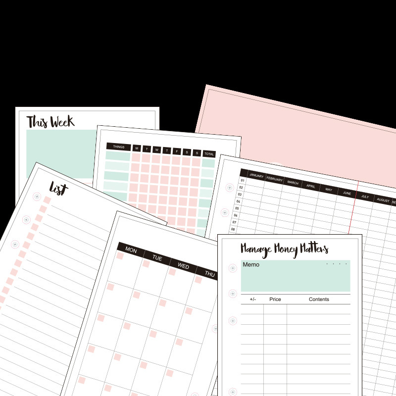 A5 A6 A7 Loose-leaf Hand Diary Refill Monthly Weekly Planner 2020 Agenda Journal School Supplies Filler Papers