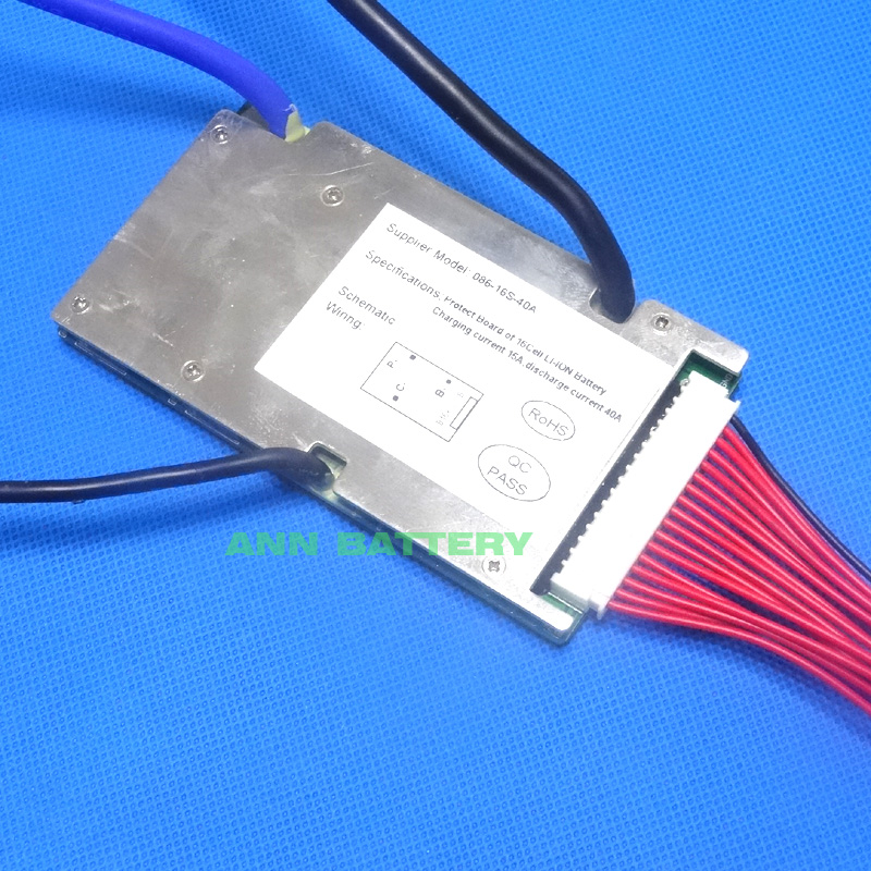 Livraison gratuite 60 V 16 S 40A BMS pour 16 S 3.7 V batterie li-ion 59.2 V 40A BMS courant d'essorage continu 40A tension de charge 67.2 V