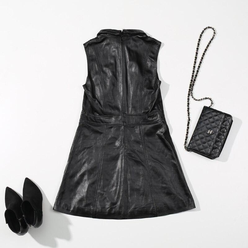 Femmes Véritable Noir Nouveau Qualité Manches Robe Cuir Vintage En 2018 De Style Bureau Élégant Dame Coréenne Top Printemps Sans kuPXiTOwZ