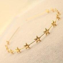 Fashion Women Gold Silver Metal Pentagram Star Hairbands Geometric Thin Headbands Elegant Headdress For Daily Party