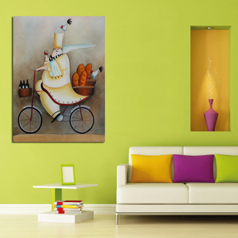 New Handpainted Abstract Art Driving Cook Oil Paintings on Canvas Abstract Wall Sticks U ...