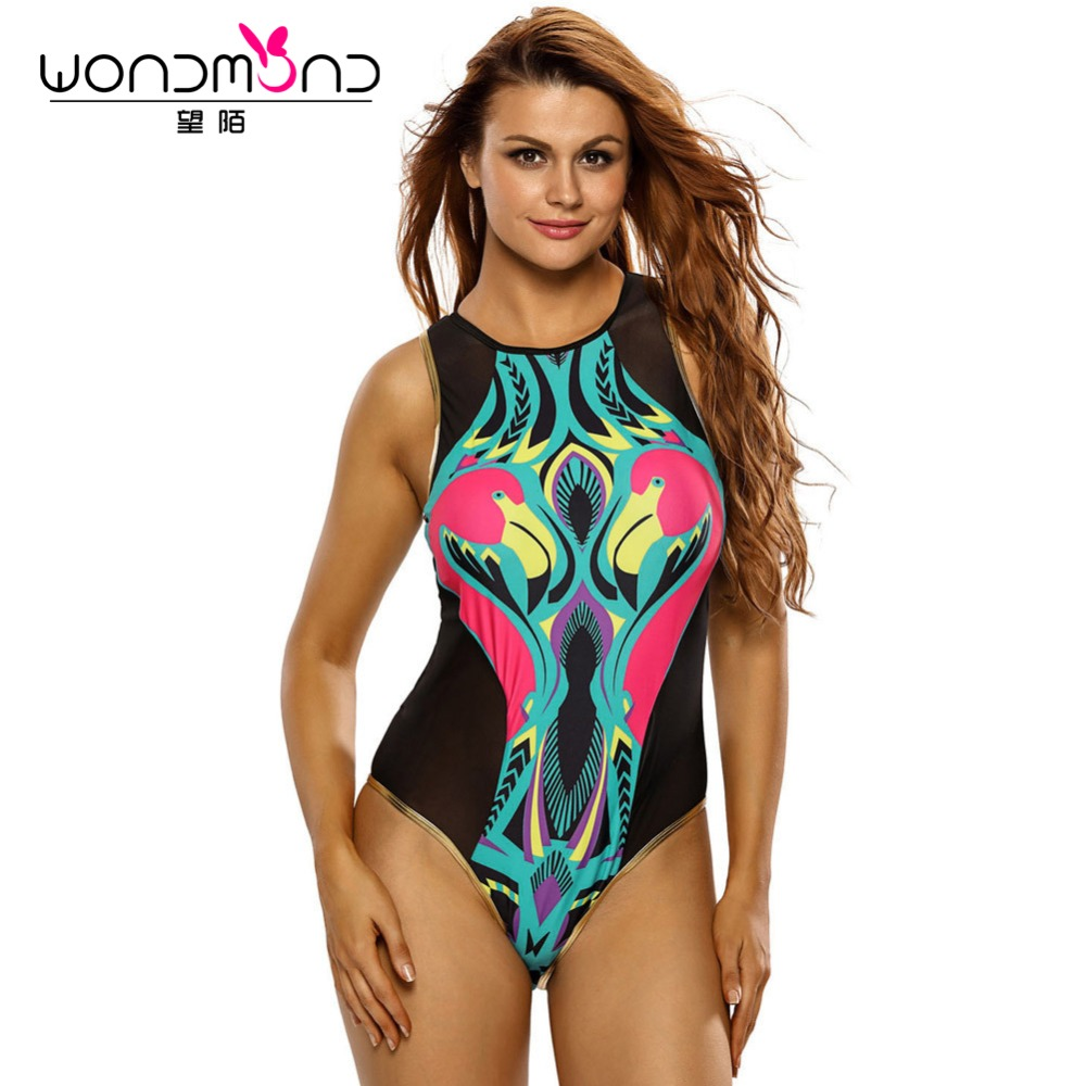 Swimwear Women One Piece Swimsuit Black Mesh Colorful Print Back Zip Monokini Floral Print Bodysuit Biquini High Cut Trikini high neck one piece swimsuit women high cut thong swimwear sexy bandage trikini hollow out mesh bodysuit female zipper monokini