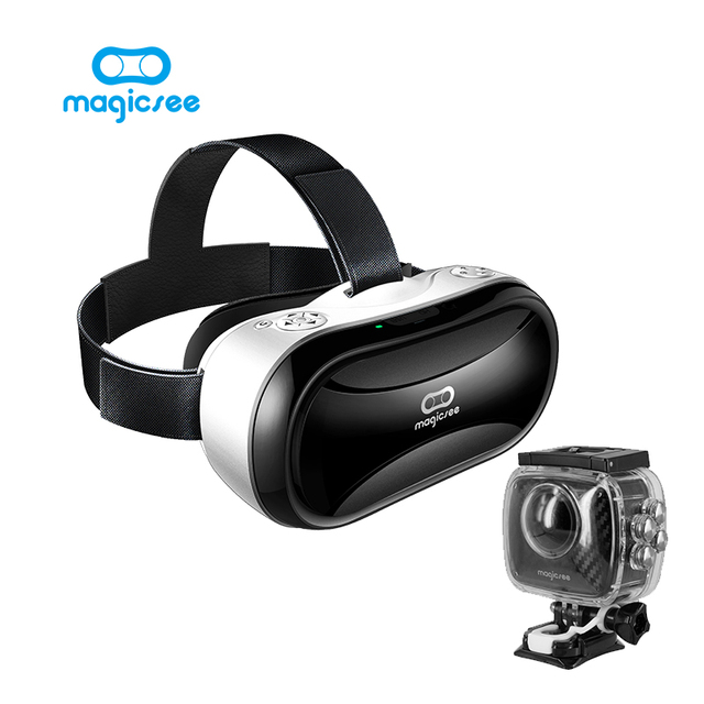 Magicsee P3 360 Degree Action camera Dual Lens 1520P With waterproof case sprot camera+Magicsee M1 Pro all in one VR 3D Glasses