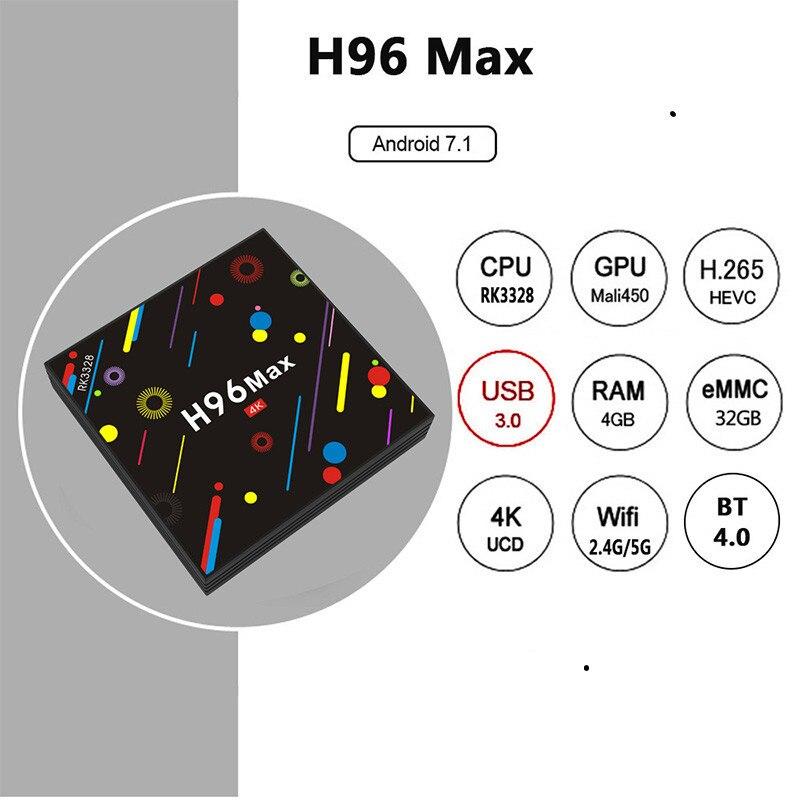 [Подлинный] h96 max h2 4g 32g Smart ТВ коробка Android 7,1 Rockchip RK3328 Quad-core Wi-Fi 4 K H.265 h96 медиаплеера h96pro телеприставке
