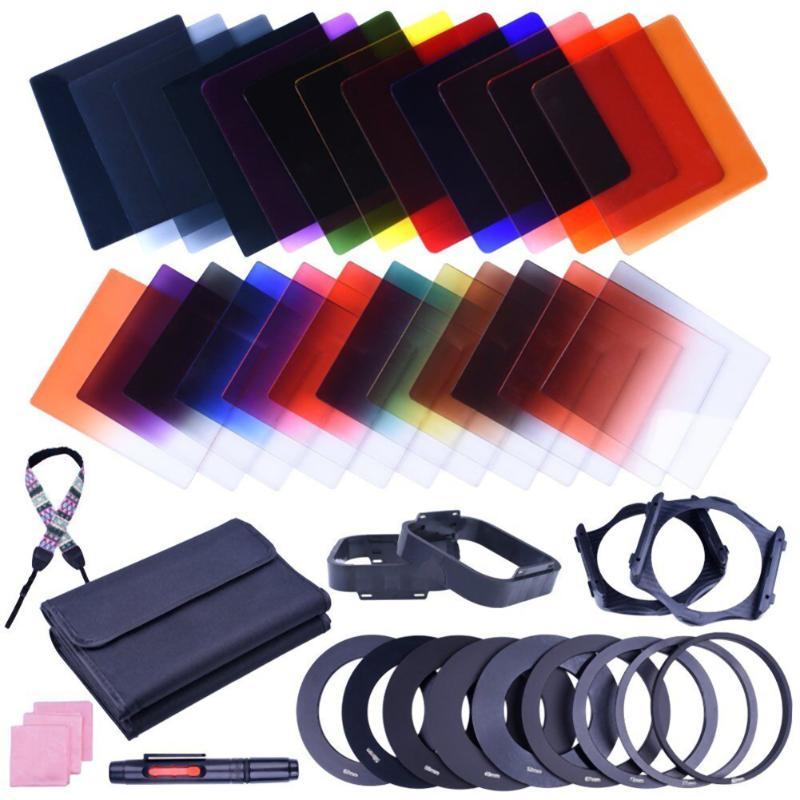 38pcs Square 24 Colors ND Grad Filter Lens Sets Kit with Filter Holder Adapter+Camera Shoulder Neck Strap Universal for Cameras стоимость