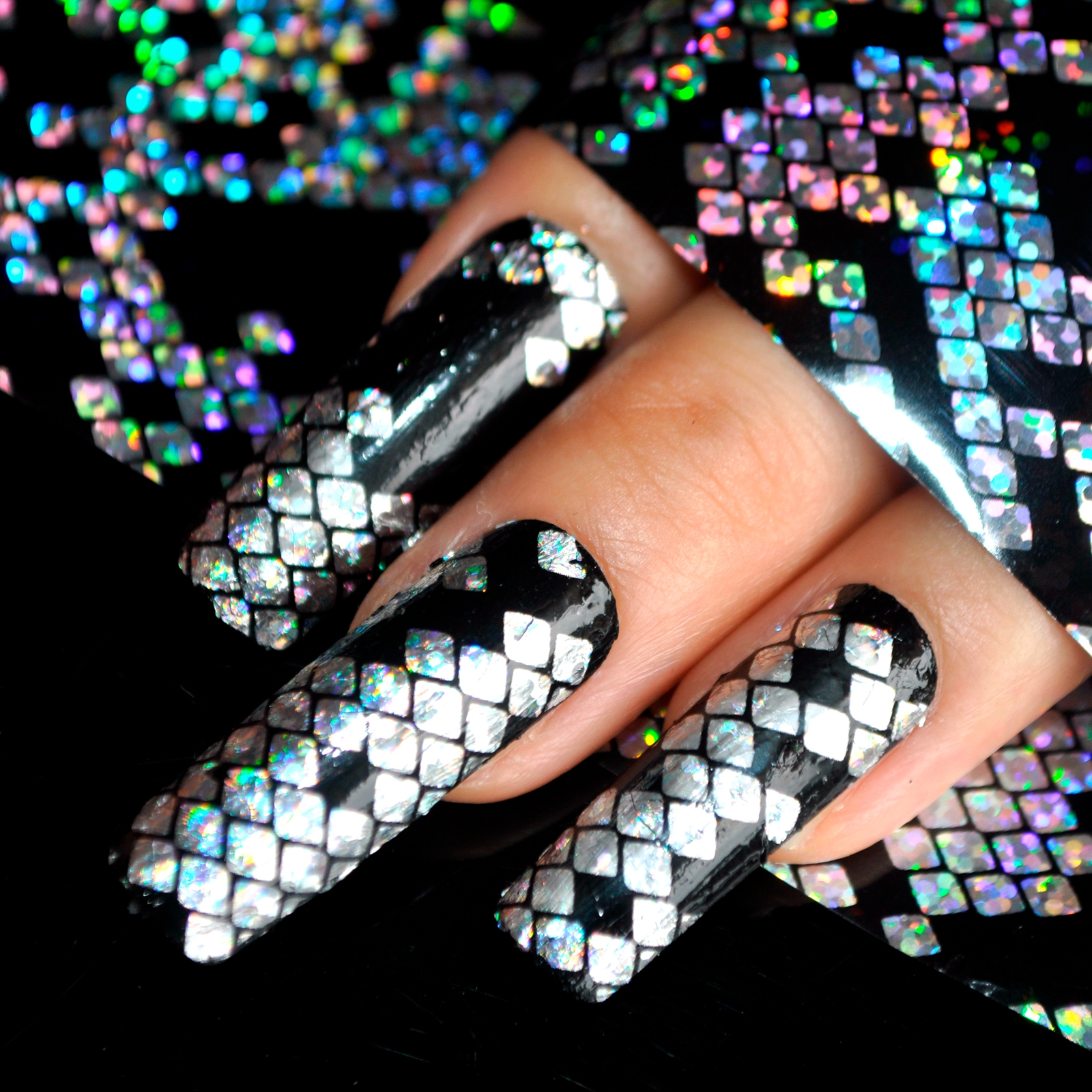 Holographic Snake Pattern Black Silver Bling Nail Art Stickers