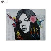 CHENFART geen Ingelijst Poster op de muur Pop Art Graffiti Portret op Canvas Muur Foto voor Woonkamer