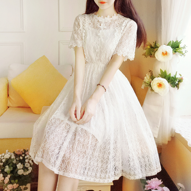 bd2b3178be9ec US $24.05 50% OFF|Sweet Mori Girl Summer Lace White Princess Dress Lady  Solid Color Fairy Slim Students Dress Robe Cute Lolita Casual Summer  Dress-in ...