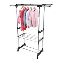 Adjustable Rolling Garment Rack Clothes Storage Drying Hanging Wardrobe OrganizerChina
