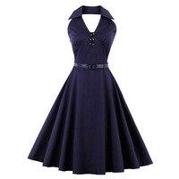 Sisjuly Vintage 1950s 60s Dresses Summer Solid Dark Purple Women Sashes Ball Dress Halter 2017 Female