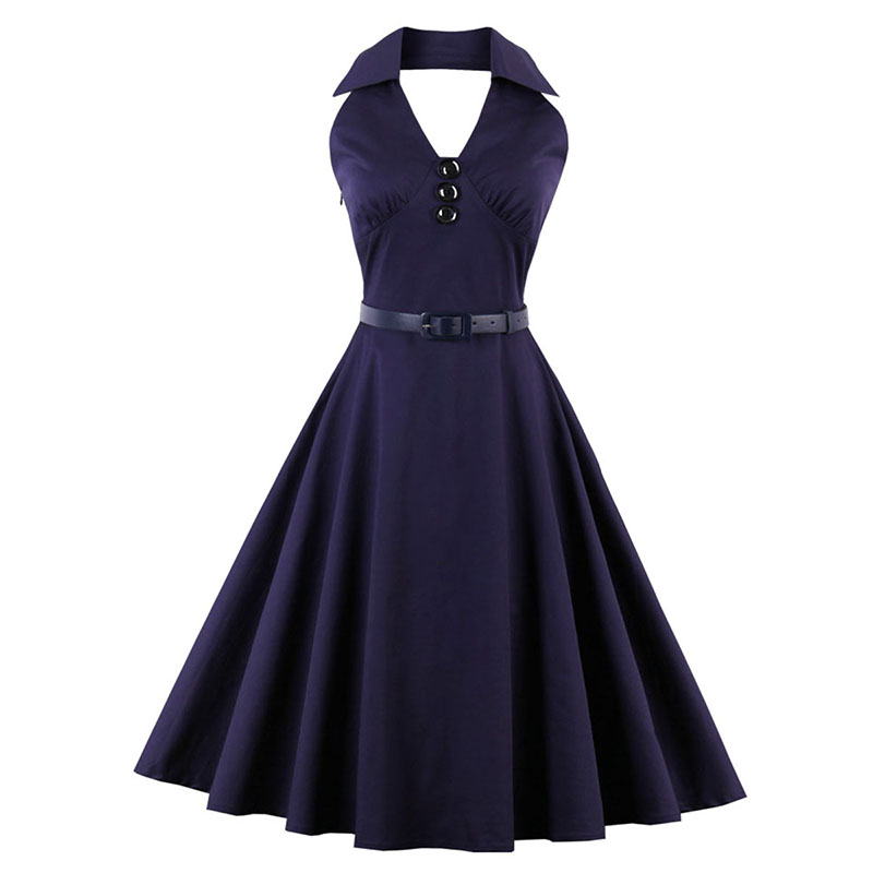 Sisjuly Vintage 1950s 60s Dresses Summer Solid Dark Purple Women Sashes Ball Dress Halter 2017 Female