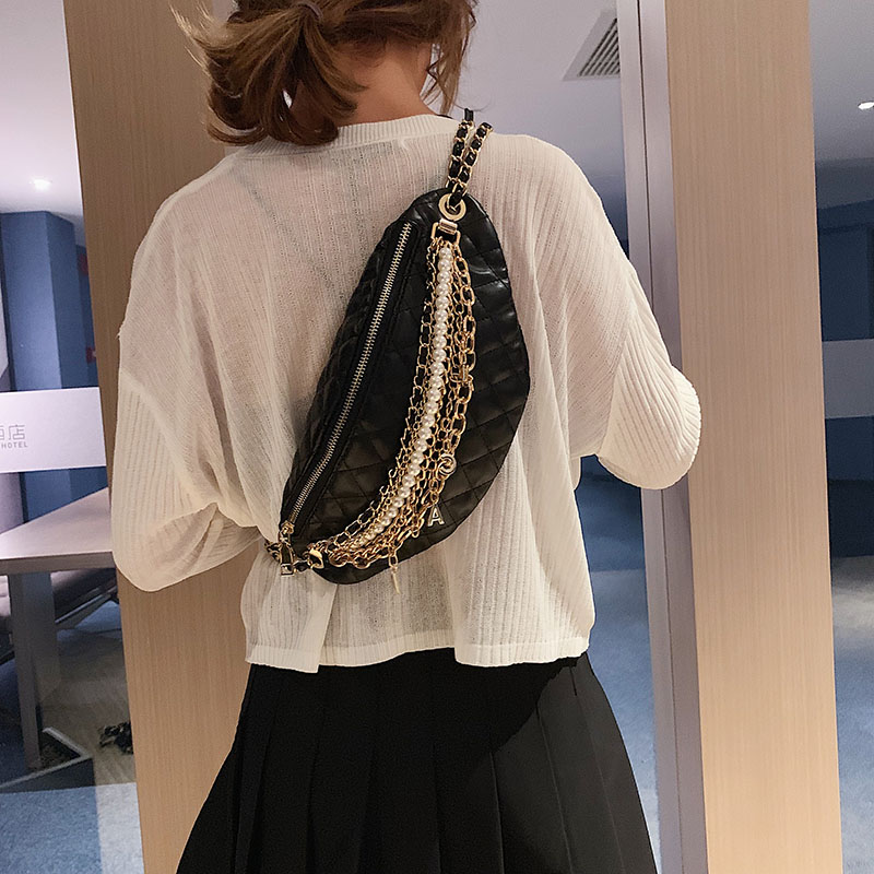 Image 2 - Shoulder Bag Women Leather Crossbody Bag Chain pearl Chest bag High Quality Messenger Bags Banana Pack Luxury-in Shoulder Bags from Luggage & Bags