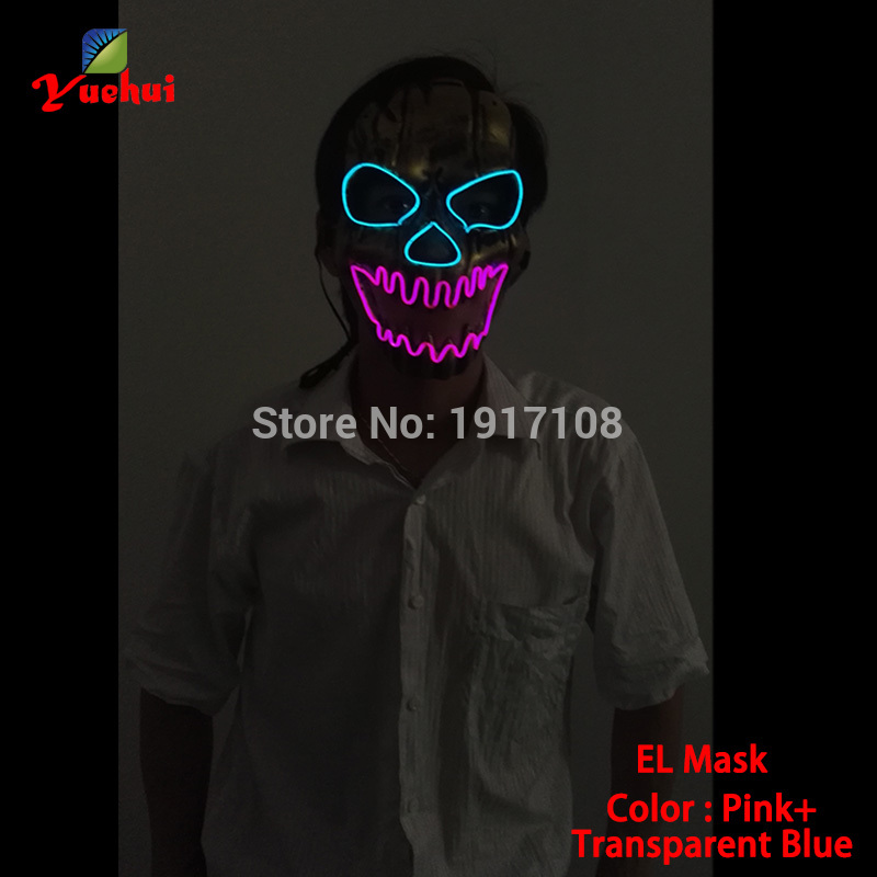 New 2019 Fashion twinkling 10 Colors Skull Horror mask With the function of Sound active Party Mask Supplies gift for Halloween
