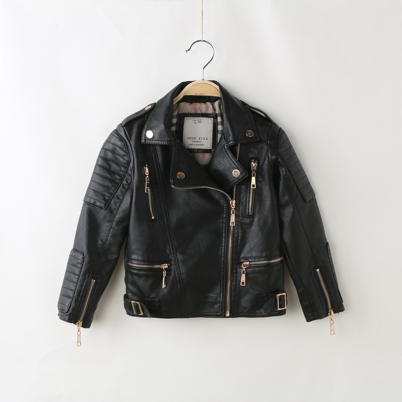 ФОТО Kids Clothes 2016 Winter Casual Black PU Leather Jacket Casual Turn-down Collar Baby girls Coats and Jackets Children Outerwear